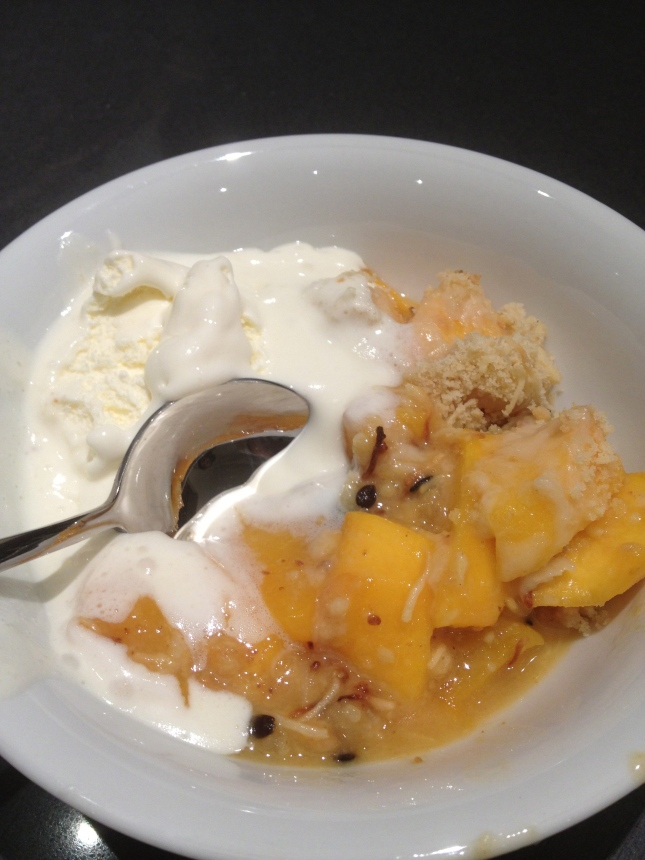 White Peach and Passionfruit Crumble